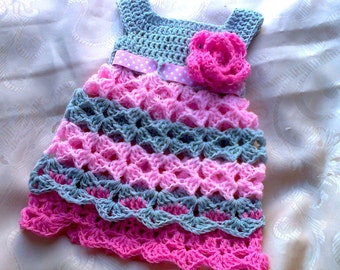 Baby Girl dress in grey and pink, crochet baby dress, chevron baby dress