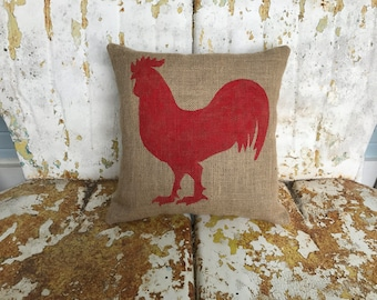 Painted Burlap Rooster Decorative Throw Accent Pillow Custom Colors Available Home Decor Farm Chic