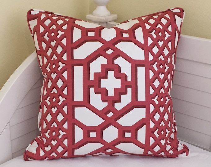 Schumacher Zanzibar Trellis Chintz in Lacquer (on Both Sides) Designer Pillow Cover with Piping - Square, Lumbar and Euro Sizess