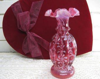 Vintage Signed Fenton Cranberry Opal Vase ' Daisy & Fern ' pattern