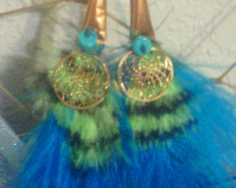 Turquoise and Green Feather Dreamcatcher earrings with copper,crystal,and turquoise stone beads