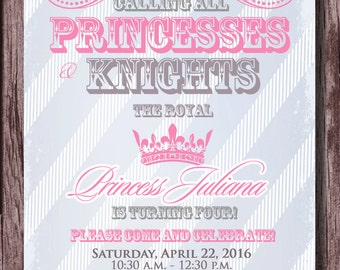 Princess and Knight Birthday Party Invitation - Prince and Princess - Princesses and Knights Party Invitation 5x7 - Pink, Silver & Blue