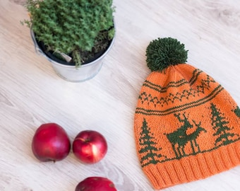 Hand knitted slouchy hat beanie Fornicating Deer