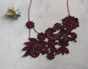 lace necklace   MIHARA   marsala, burgundy lace, wedding necklace, wedding jewelry, victorian, statement necklace, gift for her