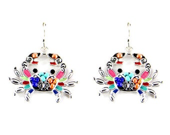 Crab Multi Color Dangle Style Earrings