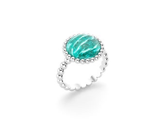 Amazonite cabochon and silver Cocktail ring