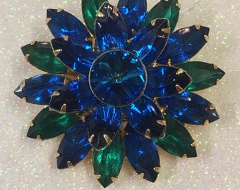 Goldtone Vintage Blue and green Rhinestone Crystal Flower Brooch Pin Estate Jewelry