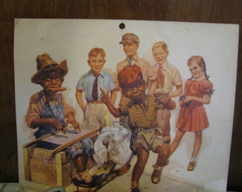 Vintage Children dancing calendar page