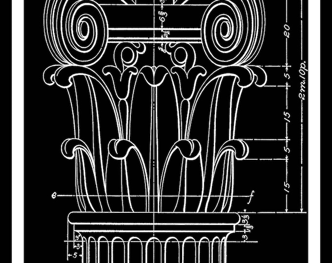 Set of 2, Columns, Blueprint in Black, Architecture, Architectural Wall Decor, Drawing, Architectural Print,Craft Art,Instant Download