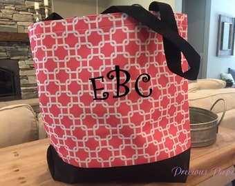 Personalized monogrammed coral, white and black tote bag, coral beach bag, monogrammed beach bag, monogrammed gift