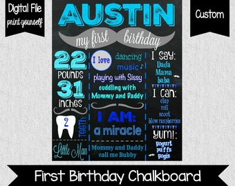 Little Man Birthday File - Little Man - Mustache Birthday - First Birthday - Boy's First Birthday Chalkboard - Printable - One - 1 - Blue