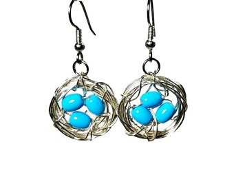 Robins Nest, Birds Nest Earrings, Bird Nest, Nature Jewelry, Turquoise Dangle Earrings,  Mother's Day Gifts, Gift for Mom