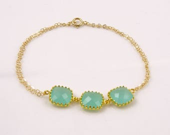 Mint Green Bracelet, Green Gold Bracelet, Mint Wedding Jewelry, Green Wedding Theme, Mint Green Bridesmaid Jewelry, Gold and Green Wedding