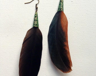Rooster Feather Earrings with an Antiqued Green Colored Cone