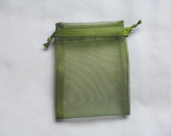 50 Olive Green Organza Bags / favor bags 3 x 4 inch jewelry supplies wedding