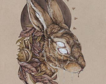 Mentem Mortalia Tangent - 11 x 14 rabbit fine art print