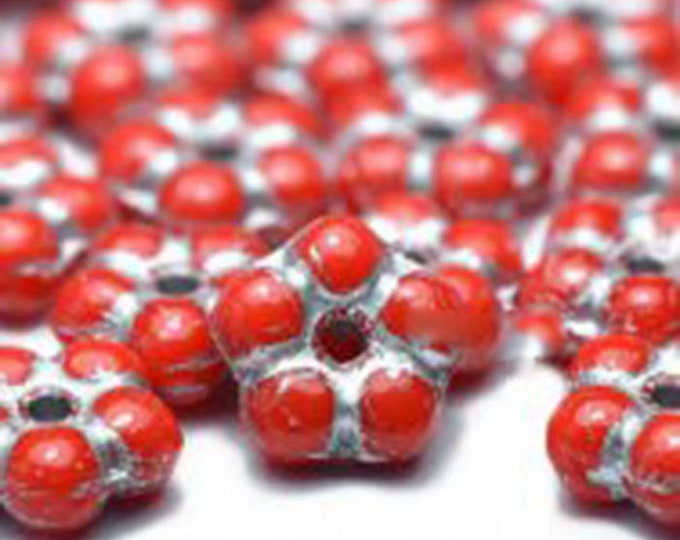 Featured listing image: Daisy Flower Spacers Scarlet Red with Silver Finish Teeny Tiny Czech Glass Buttercup Daisy Disk Spacer Forget Me Not Beads 5mm 50 beads