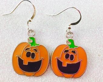 Jack O Lantern Earrings, Pumpkin Earrings, Halloween Earring, Halloween Jewelry, Fall Earrings, Autumn Earrings, Orange Pumpkin Earrings