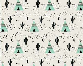 Mint Teepee Quilting Fabric by the Yard Cotton Aztec Tribal Tipi Fabric Organic Cotton Minky Knit Nursery Childrens Fabric 3740225