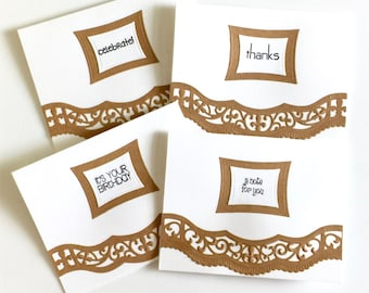 Elegant Simplicity Set of 4 Note Cards (Birthday, Thanks, Just a Note, Celebrate)