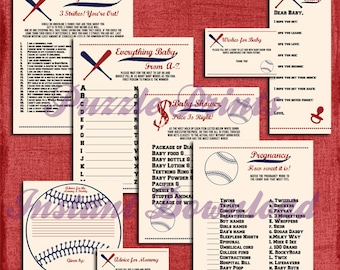 Instant Download Printable Vintage Style Baseball Baby Shower Games and Activity Set