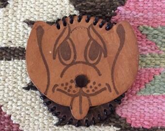 1970's Leather Dog Head Coin Purse