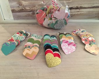 Bag of Over 200 Hearts for Crafting, Banners, Garland, Gift Tags and More
