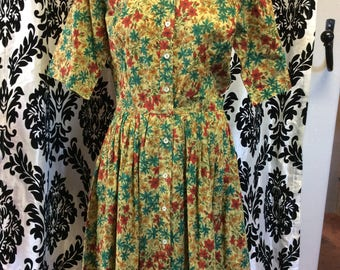 Lovely 50's Chartreuse Day Lily Dress