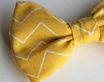 Bow Tie in Thin Mustard Chevron - Clip on, pre-tied with strap or self tying - ring bearer attire