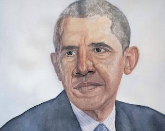 Barack Obama Painting, Obama Watercolor, Obama Illustration, Obama print
