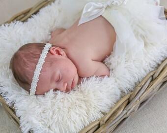 Baby Headband, Baby Pearl Flower Headband, Newborn White Head band,  Baby Pearl Headband, Flower Girl Headband, Baptism Headband, 1550