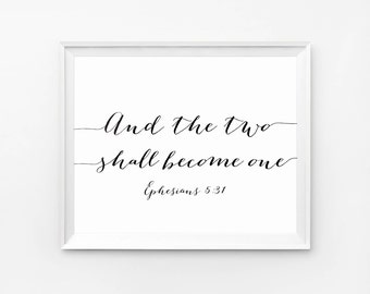 Wedding bible verses, And the Two Shall Become One, Christian Wedding aisle decoration, Bible verse wall decor, Scripture quotes prints
