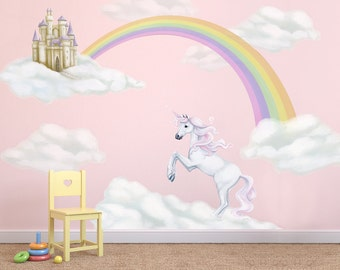 Unicorn Decals, rainbow decal, Unicorn Wall Stickers, Fairytale Decal, rainbow wall stickers, unicorn wall mural, cloud decals, girls decals