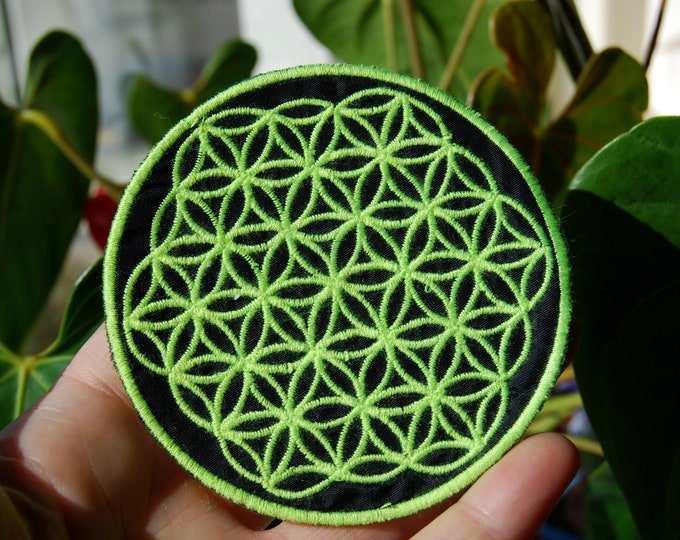 Flower of Life UV Patch Neon Yellow Blacklight Embroidered