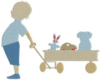 Machine embroidery pattern boy and his cart