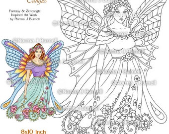 Fairy Tangles Printable Coloring Pages by Norma J Burnell Fairies to color Flower Fairy Coloring Book Pages Printable Coloring sheets