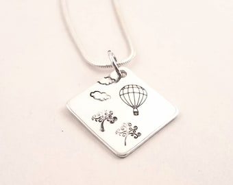 Hot Air Balloon Hand-Stamped Necklace