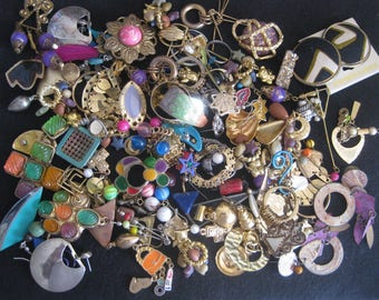 Earring scraps, some pairs, for mixed media art, jewelry re-make, other. 12 oz.