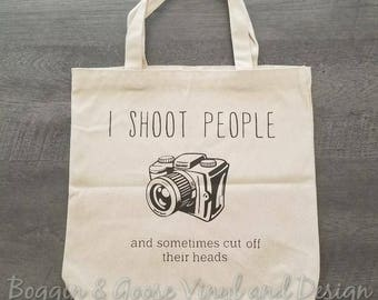 I Shoot People Large Canvas Photographer Tote