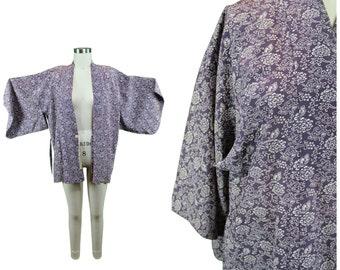 Vintage Japanese Kimono / Authentic Vintage Kimono / Festival Short Kimono / Spring Summer Silk Kimono / Festival Floral Print Kimono