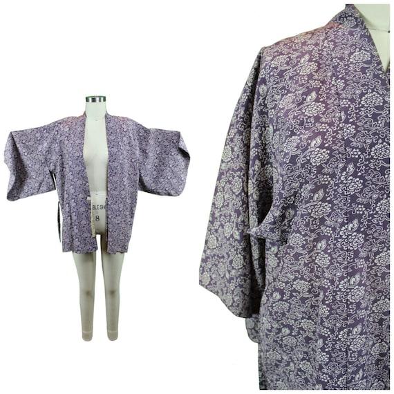 Printed Silk Kimono - Authentic Vintage