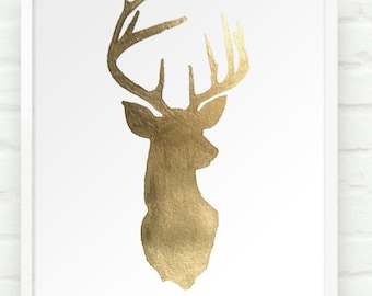 Deer oh Deer in Metallic Gold - 8x10 Hand Gilded Stag Head Silhouette Print - Decor for Dining Room Nursery Boho Chic