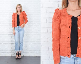 Vintage 70s Orange Sweater Top Cardigan Crochet Knit Puff Sleeve Small S 11276