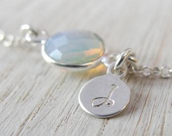 October birthstone Personalized bracelet Opal birthstone Initial bracelet Bridesmaid birthstone bracelet Bridesmaid opal jewelry Initial