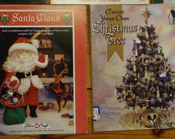 Lot 5 Vintage Christmas Craft Booklets Crochet Knitting Cross Stitch Doll Clothes Ornaments Santa's Elves Christmas Tree 1988-98