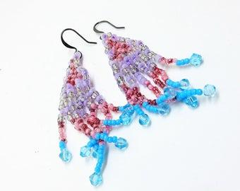 Jellyfish earrings, beaded tassel earrings, fringe earrings, seed bead earrings, dangle earrings, boho earrings, Swarovski crystal earrings