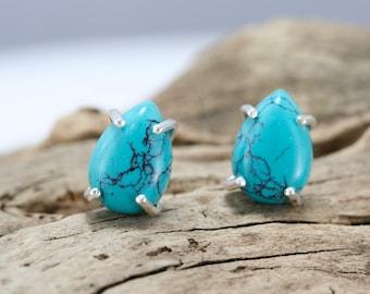 Turquoise stud earrings, sterling silver and turquoise teardrop stud earrings, Rachel Wilder Handmade Jewelry