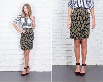 Vintage 80s Black Retro Skirt Wrap High Waist Pencil XXS 5912