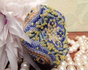 Pincushion Blue and yellow flower embroidery floss biscornu Pin cushion Biskornyu Mimosa