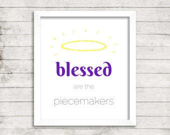 Print: Blessed are the Piecemakers. Digital Quilt or Sew Quote, Instant Download of Quilt Studio Art for Fabric Lover Sewing